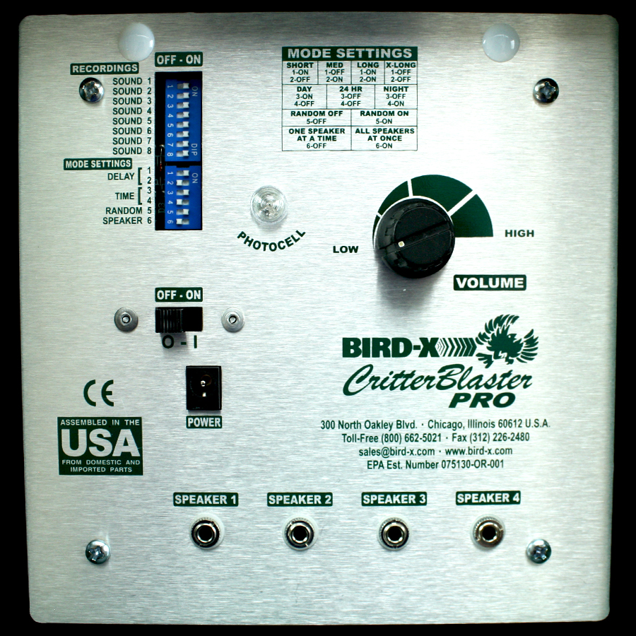 Critter Blaster Pro Animal Repellent Device Sonic Bird Repeller Ultrasonic Pest Circuit Front Panel
